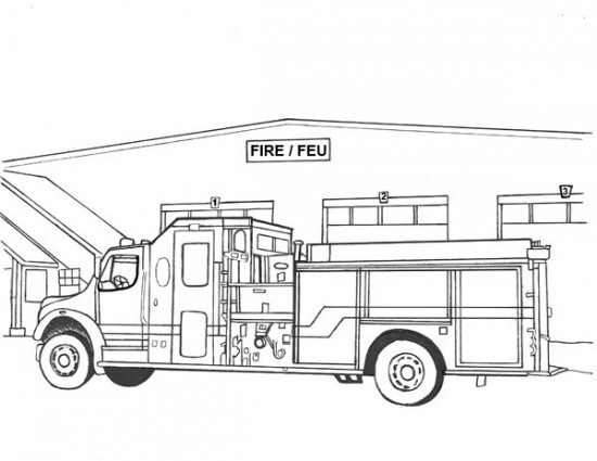 Kids coloring pages random lake fire department for Fire station coloring page